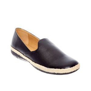 Black Faux Leather Slip On Flats